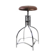 Leather Speakeasy Seat Bar Stool Kitchen Aluminum