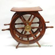 XL Ships Steering Wheel Teak Wood End Table