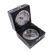 Desktop Compass Clock Black Wooden Case Nickel Finish