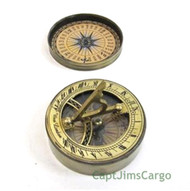 Brass Compass Sundial Leather Case Nautical Gift