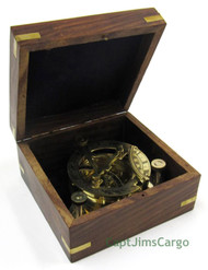 Brass Compass Folding Sundial Wooden Case Nautical Gift