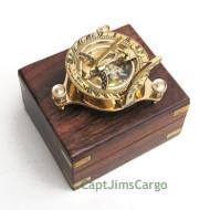 "Brass Compass & Sundial 3.25"" w/ Wooden Case Nautical Gift"