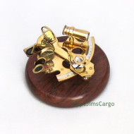 Brass Sextant Wooden Base Nautical Astrolabe Decor