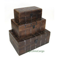 Pirate Treasure Chest Nested Wooden Storage Boxes