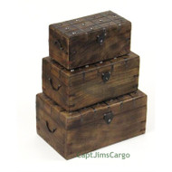 Pirate Treasure Chest Nested Boxes Wooden Trunks