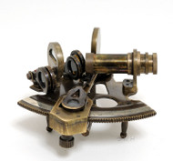 Small Brass Sextant Antiqued Leather Maritime Decor