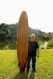 Cedar Long Board Hollow Fiberglass Tri Fin
