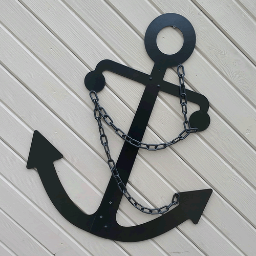 Black Admiralty Fisherman Metal Anchor 36 Wall Hanging