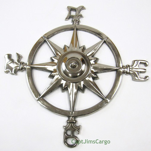 Compass Rose Windrose Chrome Finish Nautical Wall Decor