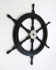 Black Nautical Pirate Ship's Steering Wheel Wooden