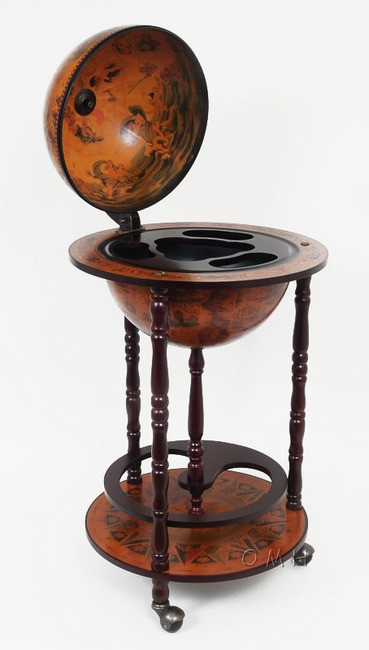 Old world globe wood hidden home bar cart 17 captjimscargo for 16 inch floor old world bar globe cart