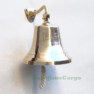"""FIRE"" Nautical Cast Brass Ship's Bell Decor"