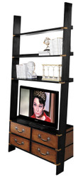 Nautical Campaign Gallery TV Ladder Wall Bookcase