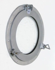 Aluminum Finish Porthole Window Glass Round Nautical