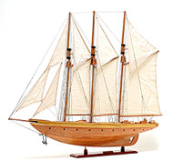 Atlantic Yacht Wood Topsail Schooner Model Gaff Rigged