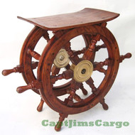 Ships Steering Wheel Teak End Table Nautical Furniture