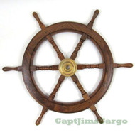 Teak Wood Boat Ships Wheel Brass Hub