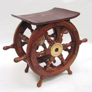 Ships Wheel End Table Teak Nautical Furniture