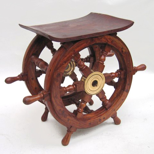 Ship s wheel end table quot teak wood nautical furniture