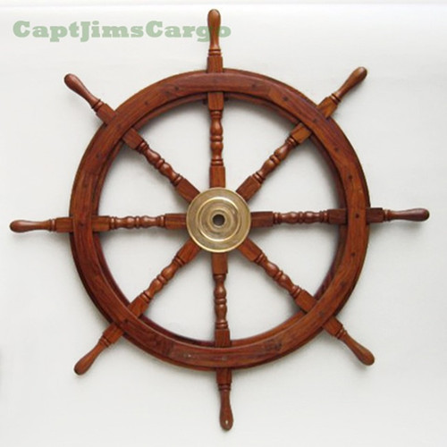 Teak Wooden Boat Ships Wheel Brass Center