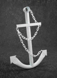 White Anchor Nautical Steel Wall Decor Plaque