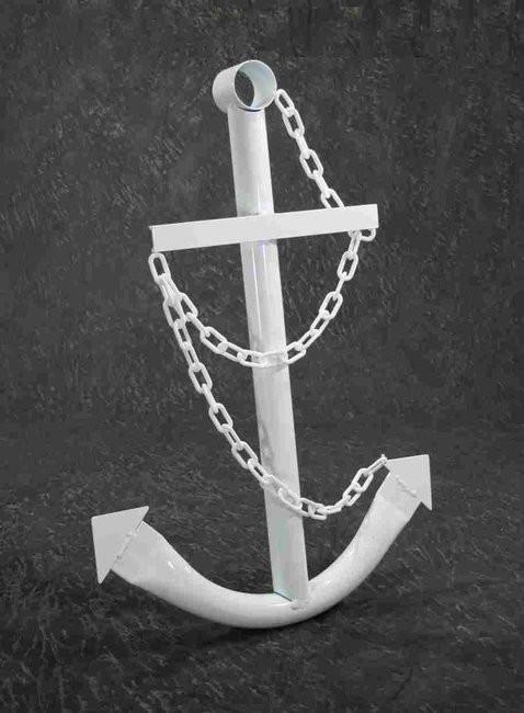 White Nautical Wall Decor : Decorative white anchor nautical steel metal wall decor