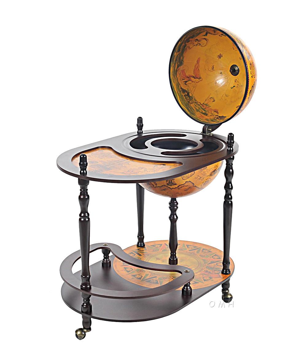 Unique bar trolley wooden old world style globe hidden for 16 inch floor old world bar globe cart