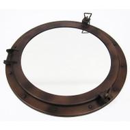 Iron Ships Porthole Mirror Antiqued Brown Nautical Decor