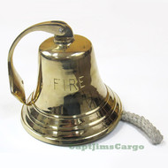 "Large ""Fire"" Solid Cast Brass Ship's Bell  Decor"