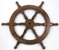 Ships Steering Wheel Wooden Hub Nautical Decor