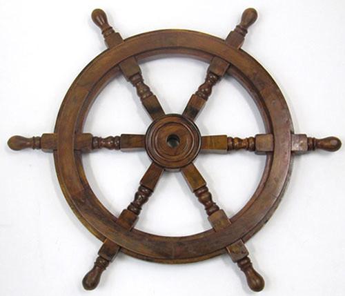 Ships Steering Wheel Wooden Hub Nautical Decor