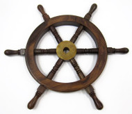 Teak Ship's Steering Wheel Wooden Hub Brass
