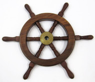 Teak Ships Steering Wheel Wooden Brass Hub