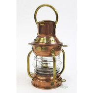 "Small Ship's Anchor Copper Oil Lamp Lantern 9"" Fresnel Lens"
