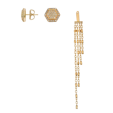 Hexagon Two Way Dangle Earring in 14K Yellow Gold with Diamonds