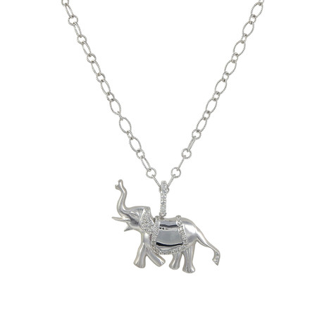 Lucky Elephant Pendant in 14K White Gold and Diamonds on a Cable Chain