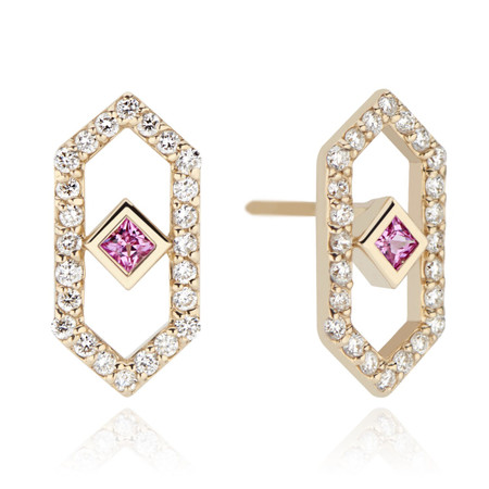 Gianna stud earrings with diamonds and pink sapphire