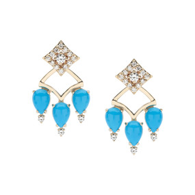 Regalo turquoise  and diamond two in one earring