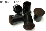 "1-1/8"" Black Chair Tips W/Brown Felt  Floor Protectors"