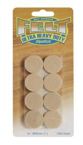 "Slipstick 1"" Round Oatmeal Peel N Sitck Felt Pads 16pc. (CB013)"