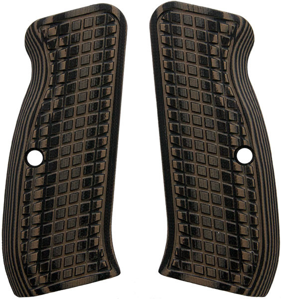 CZ 75 G10 Grips Brown/Black (aka Hyena Brown) Frag Grenade Grips