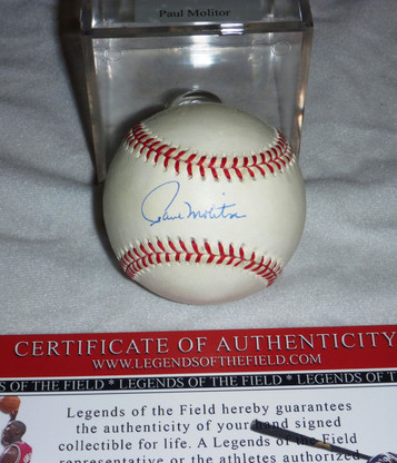 Milwaukee Brewers Minnesota Twins Toronto Blue Jays Paul Molitor Signed American League OAL Gene Budig Baseball with Legends of the Field Hologram COA plus Acrylic Cube CASE