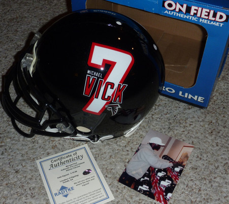 Michael Mike Vick signed Authentic PRO LINE Atlanta Falcons Helmet  Michael Vick full size helmet logo on left side