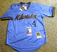 Paul Molitor HOF 04 SIGNED MILWAUKEE BREWERS 1982 MITCHELL & NESS JERSEY James Spence JSA COA Hologram