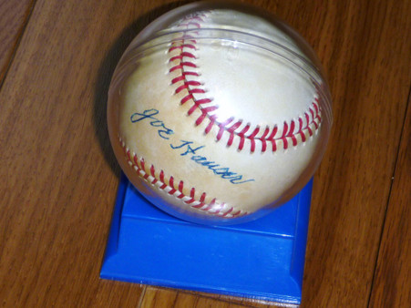 Milwaukee Brewers Unser Choe Orioles Joe Hauser Autographed Signed Official American League OAL Baseball w Ball Holder