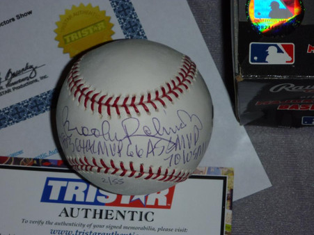 BALTIMORE ORIOLES BROOKS ROBINSON HOF AS MVP AUTOGRAPHED LE #2 of only 55 BASEBALL MLB TRISTAR