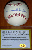 BROOKLYN LA DODGERS EDWIN DONALD DUKE SNIDER AUTHENTIC AUTOGRAPHED MLB BASEBALL ELITE COA with Hologram