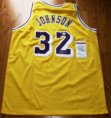 Earvin Magic Johnson Autographed SIGNED LA Los Angeles Lakers JERSEY JAMES SPENCE JSA COA