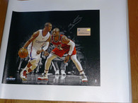 MARQUETTE MIAMI HEAT DWYANE WADE 3 SIGNED Chris Paul Photo on Canvas Steiner COA Hologram