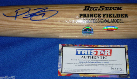 TEXAS RANGERS PRINCE FIELDER AUTOGRAPHED BASEBALL BAT MLB TRISTAR AUTHENTIC COA